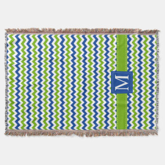 Blue and Green Chevron Pattern with Monogram Throw Blanket
