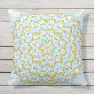 Blue and Green Colorful Mandala Double Sided Throw Pillow