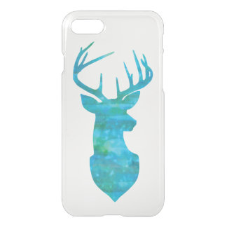 Blue and Green Deer Silhouette with Antlers iPhone 8/7 Case