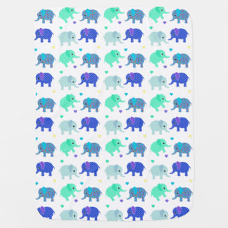 Blue and Green Elephants Baby Blanket