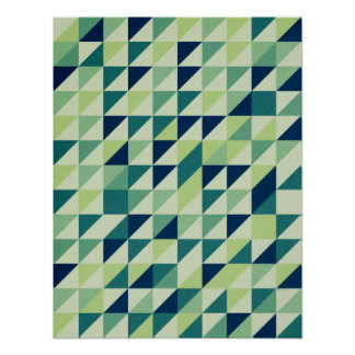 Blue And Green Geometric Grid Poster