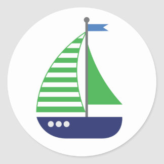 Blue and green nautical sailboat sticker