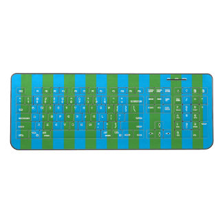 Blue and Green Vertical Stripes Wireless Keyboard
