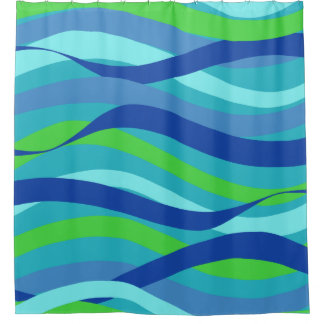 Blue and Green Waves Shower Curtain