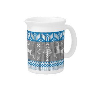 Blue and Grey Norwegian Alpine Deer Pattern Pitcher
