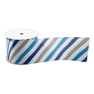 Blue and Grey Striped Ribbon Satin Ribbon