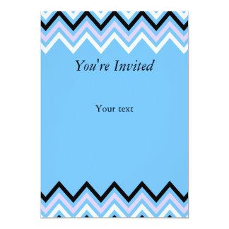 Blue and Lilac Chevron Pattern 13 Cm X 18 Cm Invitation Card