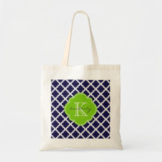 Blue and Lime Green Moroccan Quatrefoil Monogam