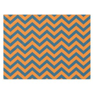 Blue and Orange Chevron Stripe Tablecloth