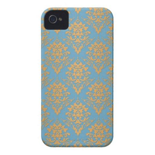 Blue and Orange Damask Pattern Case-Mate Blackberry Case