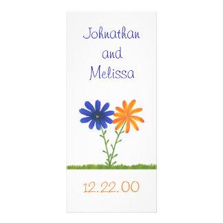 Blue and Orange Flowers, custom menu cards Rack Card
