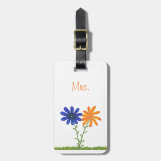 Blue and Orange Flowers Mrs. Luggage Tags