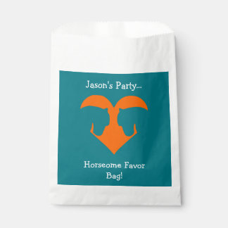 Blue and Orange Personalised Horse Favour Bags