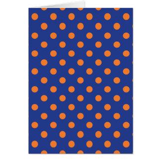 Blue and Orange Polka Dots Greeting Card