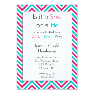 Blue and Pink Chevron Gender Reveal Invitation