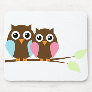 Blue and Pink Owls Couple Mouse Pad