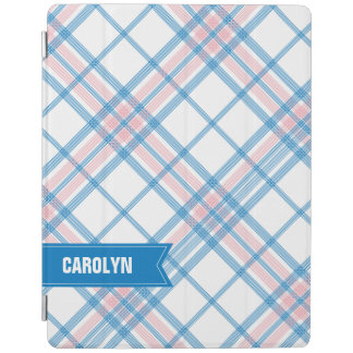 Blue and Pink Plaid Monogram iPad Mini Cover