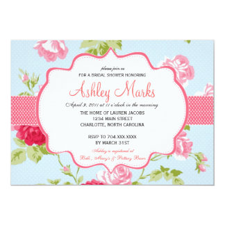 Blue and Pink Shabby Chic Bridal Shower Invitaiton 5x7 Paper Invitation Card