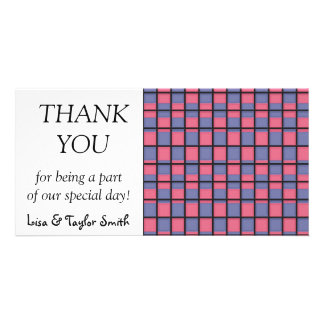 Blue and pink squares pattern personalized photo card