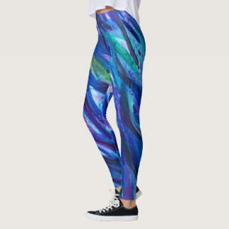 Blue and Purple Brush Stroke Leggings