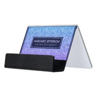 Blue And Purple Glitter Desk Business Card Holder