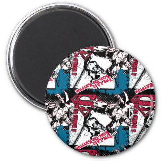 Blue and Red Collage 6 Cm Round Magnet