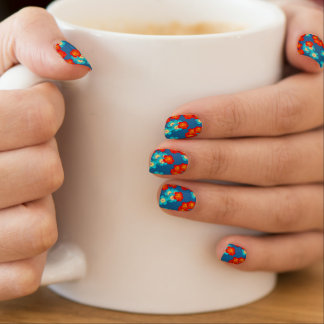 Blue and red hibiscus minx nail art