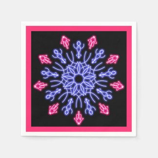 Blue and red neon flower disposable serviettes