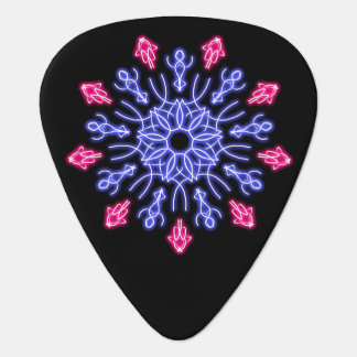 Blue and red neon flower plectrum