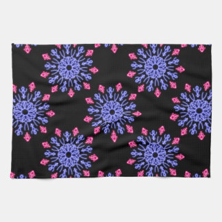 Blue and red neon flower tea towel