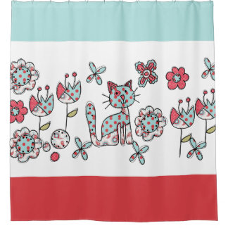 Blue and Red Polka Dotted Cat and Flowers Shower Curtain