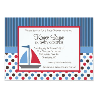 Blue and Red Stripes and Dots Sailboat Invitation