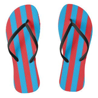Blue and Red Vertical Stripes Thongs