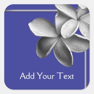 Blue and Silver Plumeria Sticker