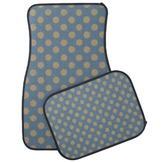 Blue and Tan Polka Dot Car Mat Set