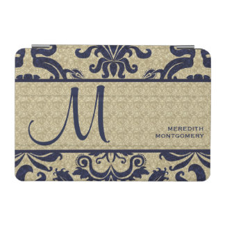 Blue and Taupe Elegant Damask with Monogram iPad Mini Cover
