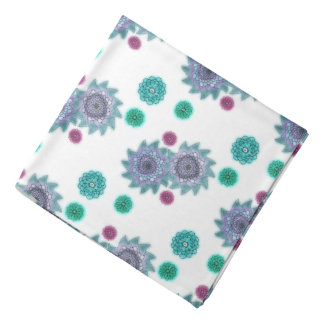 Blue and turquoise watercolor flowers bandana