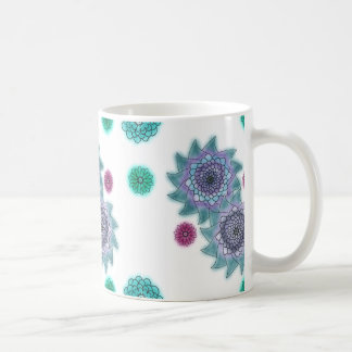 Blue and turquoise watercolor flowers coffee mug
