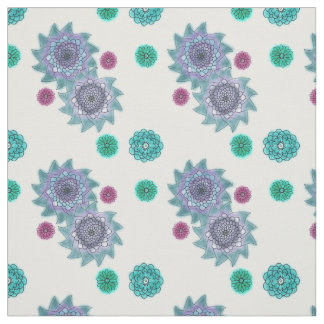 Blue and turquoise watercolor flowers fabric