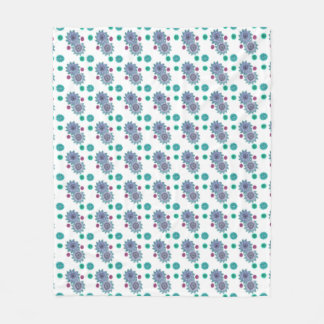 Blue and turquoise watercolor flowers fleece blanket