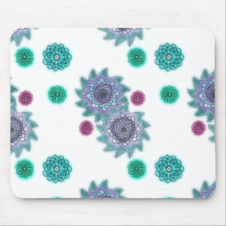 Blue and turquoise watercolor flowers mouse pad