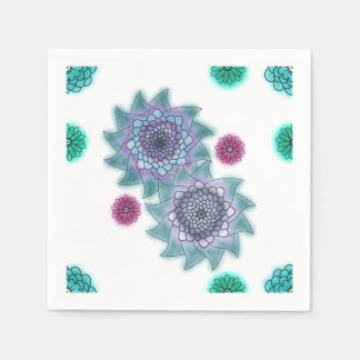 Blue and turquoise watercolor flowers paper serviettes