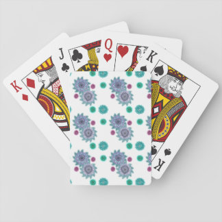 Blue and turquoise watercolor flowers playing cards