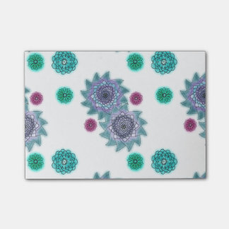 Blue and turquoise watercolor flowers post-it notes