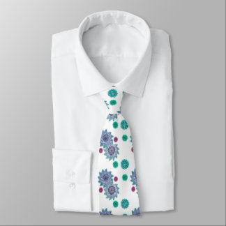Blue and turquoise watercolor flowers tie