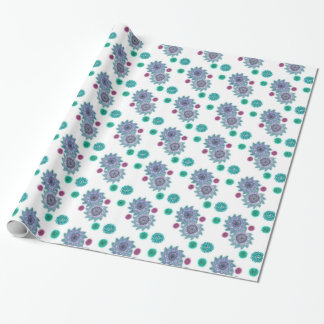 Blue and turquoise watercolor flowers wrapping paper