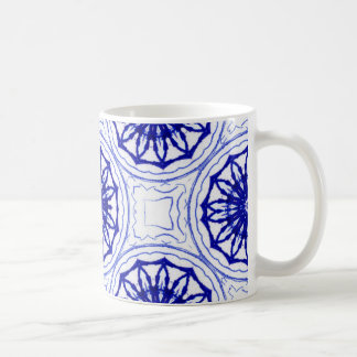 Blue and while flower pattern coffee mug