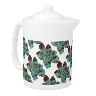 Blue And White Abstract Floral Teapot
