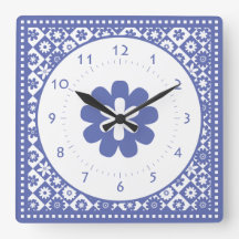 Blue and White American Country Kitchen Classic Wallclocks