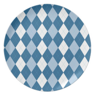 Blue and White Argyle Plate
